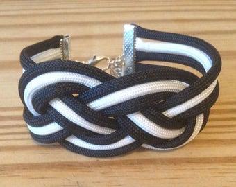 Sailors knot  black and white paracord bracelet 2 strand