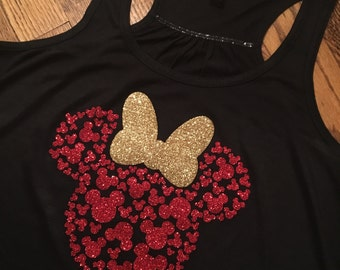 Minnie Mouse Head with 100 Mickey's Tank Top! Womens, Disney Tank, Flowy Racerback Tank, Disney shirt, Glitter, family disney shirts