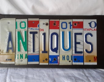 ANTIQUES license plate cutout wood wall hanging craft sign