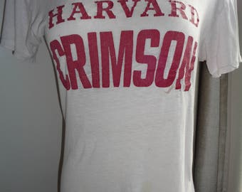 Very Vintage Harvard Crimson Faded, Worn, Torn and Holy Tee Shirt in Vintage Well Used, Well Worn Condition, Size Adult Small Vintage Top