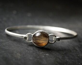 Golden Rutilated Quartz Tension Cuff Bracelet in Sterling Silver, oval cuff, Ooak