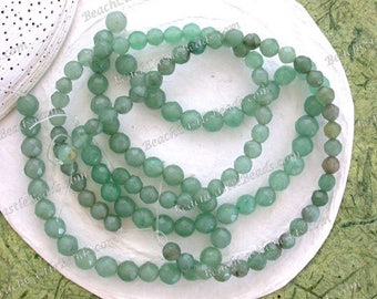 Sale Beads, Destash Beads, 6 to 7mm Natural Green Aventurine Beads, Faceted Semi-Precious Gemstone Beads, Destash Supplies  DS-832