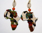 Fabric Covered Wood Earrings-Lady Africa With Cowrie Shell