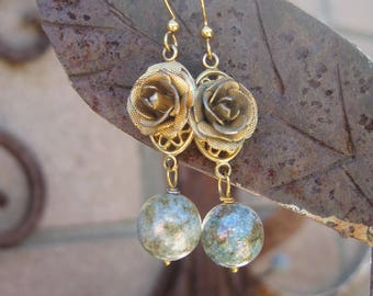Vintage Rose Earrings with Gold Dappled Blue Green Beads - Repurposed Rose Charm Boho Chic Earrings