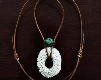 Porcelain Coral Necklace with African Matte Turquoise on Leather Cord / Immitation Coral / Vegan Coral /Faux Coral