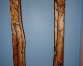 The Sentinel Birch Mirror frame with carved  and painted Raven and Deer
