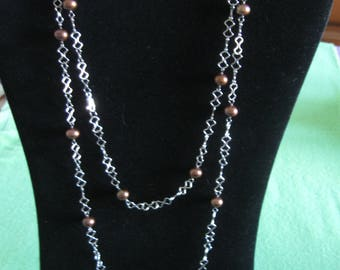 46-Inch Silver Tone Chain With Copper Beads, Lobster Claw Clasp