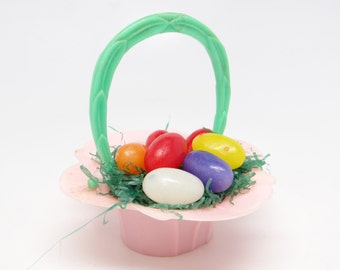 Vintage 1950's Rosbro Pink Plastic Easter Basket Candy Container
