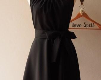 Black Sundress Summer Dress Vintage Prom Dress Black Skater Dress Black Bridesmaid Dress Little Black Dress, Black Long Dress LOVE SPELL