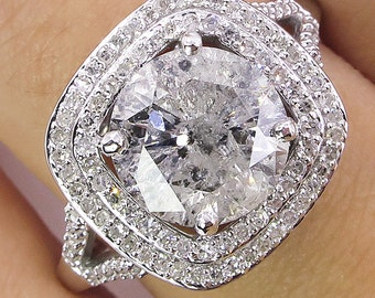 Reserved...Colorless 3.06ctw Vintage Natural Round Diamond Engagement Wedding Platinum Ring