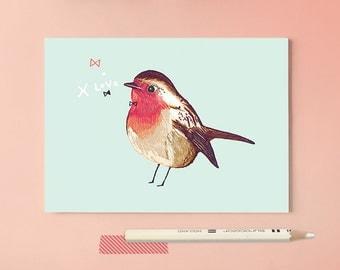 Postcard Robin Bird Illustration - love and kiss