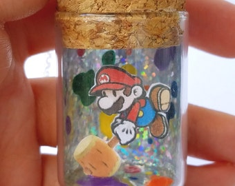READY TO SHIP, Paper Mario Color Splash Bottle Necklace