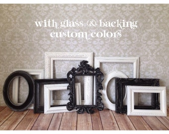 Black and White Vintage Style distressed PICTURE FRAMES -shabby chic wedding - Black and White - Glass, Easel n Hanging Backing