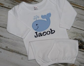 Whale Long Sleeve Baby Gown