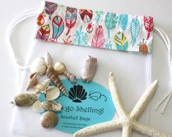 Sea Shell Bags READY TO SHIP, Drawstring SeaShell Bag, Tribal Feathers Fabric and Mesh Beach Bag, Shelling Bag, Shell Collecting Bag
