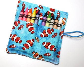 Crayon Rolls Party Favors, CLOWN FISH Crayon Roll holds 10 Crayons, Birthday Party Favors