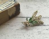 Vintage enamel flower brooch retro green floral