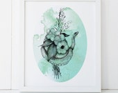 Snake and Botanical Watercolor Print 8x10 Fine Art Wall Decor