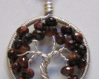 Tree of Life, Red Tiger Eye Gemstone Wrapped in Fine Silver Tree of Life Pendant, Little Tiger Eye Tree of Life