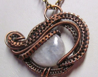 Moonstone - Wearable Art - Antiqued Copper Moonstone Wire Wrap, Moonstone Jewelry, Moonstone Necklace