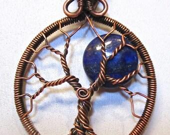 Blue Lapis Full Moon Tree of Life, Blue Moon Tree of Life Pendant, Blue Lapis Jewelry, Blue Lapis Necklace