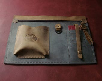Purse organizer- Handmade - Natural Lather