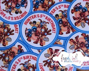 Super Hero Squad Personalized Stickers