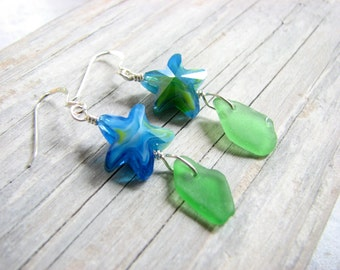 Starfish Earrings, Genuine Sea Glass Earrings, Starfish Jewelry Sterling Silver Dangle Blue Green Beach Seaglass Jewelry Nautical Gifts