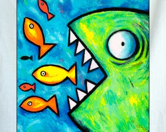 Fish Feeding Small Canvas Wall Art 6x6x1.5 in.