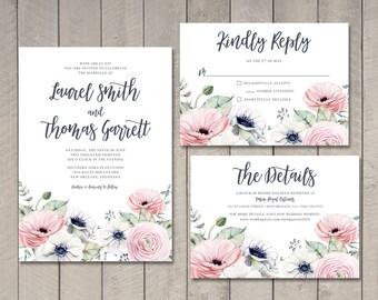 Summer Romance Wedding Invitation, RSVP, Details Card (Printable) by Vintage Sweet