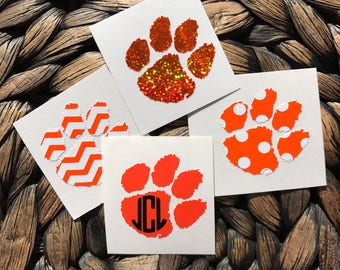 Clemson Paw Inspired Vinyl Decal With or W/O Personalizing FREE SHIPPING Lilly Pulitzer Glitter Gold Foil Chevron Polka Dot