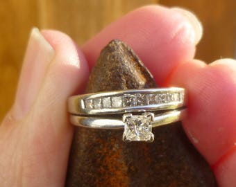 Custom 53 points of  Princess cut diamond  wedding set or could be separated...So classic...Single Solitiar