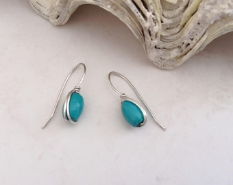 Contemporary Turquoise Stone Drop Silver Wirework Earrings