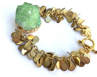 Green Druzy Cluster bracelet Golden and Peridot Druzy Bracelet August Birthstone, gift for Her