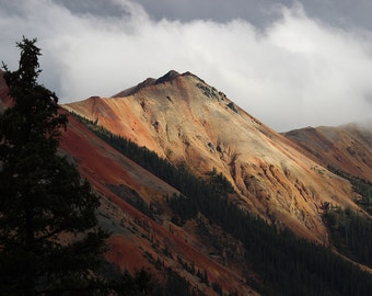 Red Mountain, Colorado Rockies, Mountains, Trees, Clouds