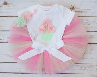 Cupcake birthday outfit, cupcake outfit, cupcake tutu, cupcake first birthday, first birthday outfit girl, pink and mint birthday cake smash