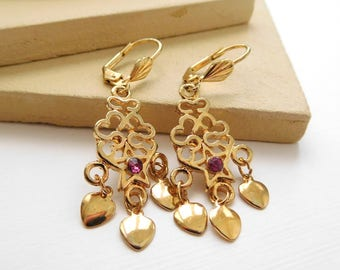 Retro Vintage 1980s Gold Tone Heart Charm Pink Rhinestone Star Dangle Earrings C29