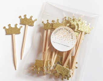 24 Tiara Cupcake Toppers | Crown Cupcake Toppers | Glitter | 1 1/2""