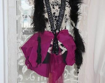 Christmas skirt , CLEARANCE Peplum Skirt , Leather Peplum , Magenta Skirt . soft Leather Peplum , Steampunk Magenta Leather Over Skirt