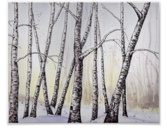 Birch Trees in Snow, Matted Art Print