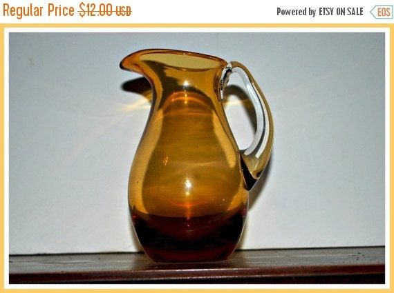 holiday sale vintage blown glass  amber color small pitcher