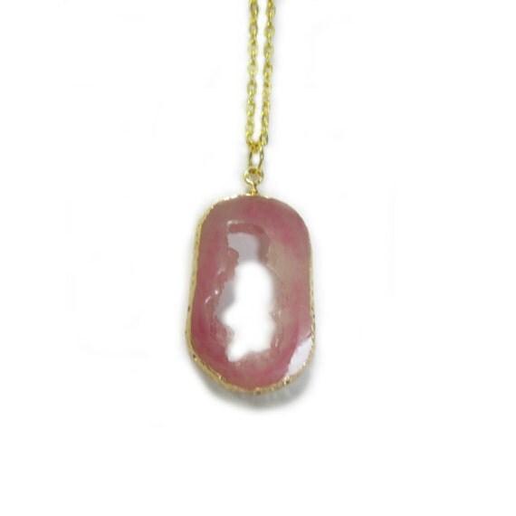 Rose Quartz Golden Chain Necklace
