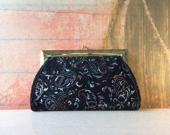 60s Velvet Clutch •  Paisley Bag • Vintage Kadin Purse • Evening Bag • Coin Purse • 1960s Black Clutch • Black Purse • Clutch with Mirror