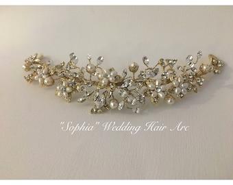 "Gold Wedding Hair Vine, Bridal gold hair accessories, Bridal leaf halo, Wedding hair wreath, ""Sophia"" Hair Arc"