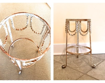 Vintage Heavy Shabby White Wrought Iron Plant Stand Rusty Patina Twisted Loop Rope Detail French terra cotta pot indoor/outdoor Garden decor