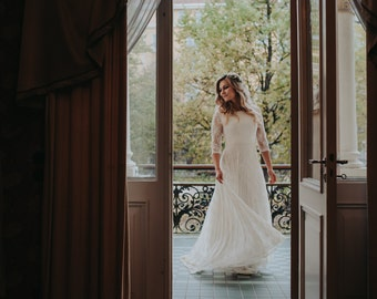 Romantic Lace Wedding Dress Hippie Wedding Dress  Boho Wedding Dress  Circle Wedding Dress Train Wedding Dress Bohemian Wedding Dress