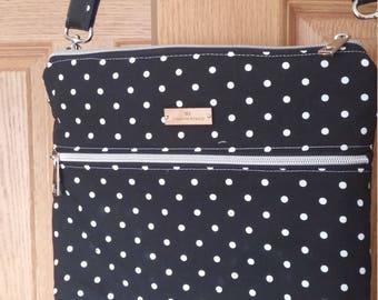 Black and White Polka Dot Cross body Bag, Silver hardware , Purse