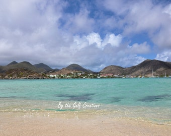 Photo Print, St Maarten, Island, Tropical, Beach, Water, Landscape, Clouds, Nature Photography, 8X10 Glossy, Fine Art Print