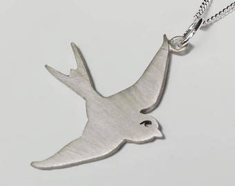 Swallow Sterling Silver Pendant Necklace - Nautical, Sailor, Tattoo