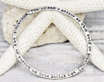 Courage to Dream Bangle - Inspirational Bangle - Word Jewelry - Sterling Silver - B908